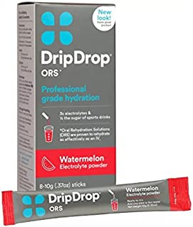 DripDrop ORS Hydration Powder, Watermelon, 8 Powder Sticks Per Box (3 Pack)