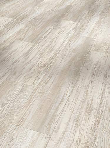 Parador Vinyl Basic 5.3 - Vinylboden Pinie Skandinavisch weiß - Hochwertiger, elastischer Bodenbelag in Holz-Optik, leise und komfortabel mit Klick-Verlegung - mit V-Fuge