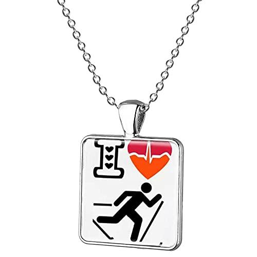 Halskette mit Anhänger in Form einer Ski-/Snowboard-/Schlitten-Silhouette