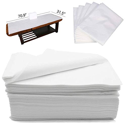 """CAPRIER Disposable Bed Sheets 30PCS - Disposable Massage Table Sheets, Large Spa Bed Cover 100 PP+PE Non Woven Fabric Oil-Waterproof, 31,5"""" x 70.9"""""""