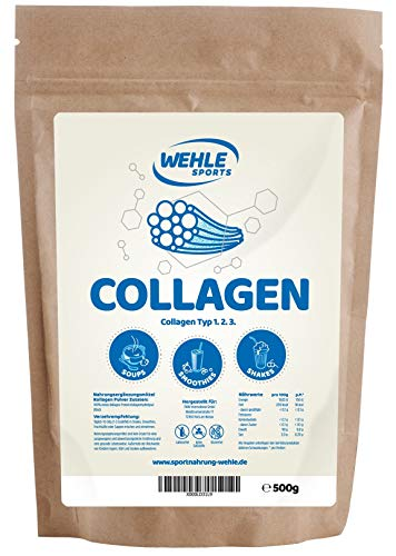 Collageen-poeder/collageen-hydrolysaat eiwitpoeder voor dagelijks gebruik in smoothies, shakes, sauzen, drankjes | Wehle Sports | Made in Germany nuttig voor het bindweefsel collageentype 1 2 3 500g