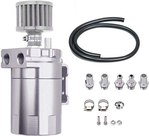 LTI Premium Quality Aluminum Universal 300ml Oil Catch Can Reservoir Tank with Breather Filter Kit Compact Dual Cylinder (Silver)
