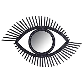AUBRY GASPARD Miroir Oeil en rotin Noir