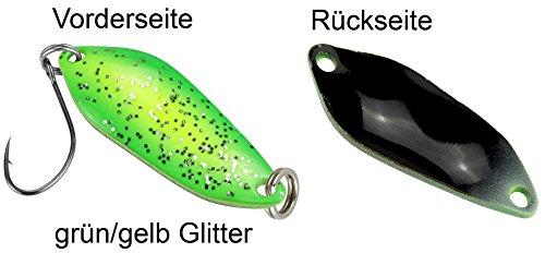 FTM Spoon Strike 2,1g - Blinker zum Spinnfischen auf Forelle, Forellenblinker zum Angeln am Forellensee, Forellenköder, Farbe:grün/gelb Glitter