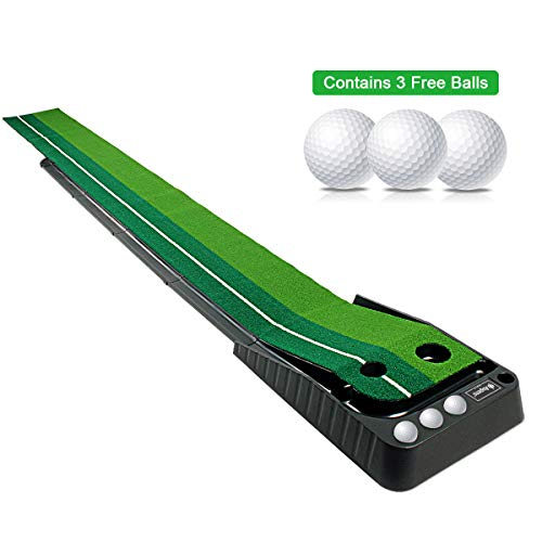 Asgens Golf Putting Green, Indoor/Outdoor Golf Auto Return Putting Mat, Dual-Track ProEdge Indoor Putting Trainer - Extra Long 9.8 Feet Mat, 2 Holes / 2 Sizes, Gravity Ball Return