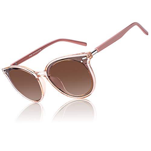 CGID Diseñador GID gafas de sol polarizadas redondas extragrandes para mujer Retro Gafas 100% UV400 Con Sombra Marco Rosa transparente Lente Marrón M60