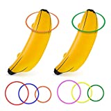 June Fox Inflatable Banana Ring Toss Game for Bachelorette Party, Bridal Shower Decorations for Engagement Party, Lingerie Party (2 Pieces 26' Bananas & 6 Pcs Toss Rings)