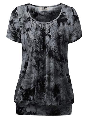 DJT Damen Casual Falten Kurzarm T-Shirt Kurzarmshirt Rundhals Stretch Tunika Tie Dye Schwarz M