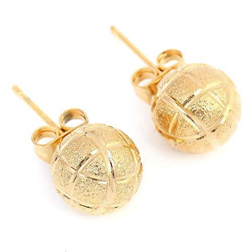 Pendientes de botón de bola de color dorado para mujer Joyería Estilo simple Pendiente lindo Joyería de 10 mm