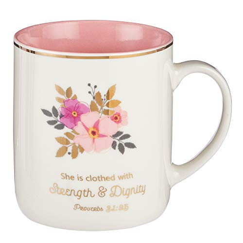 Christian Encouragement Gifts for Women - Pink Coffee Mug with Gold Metallic Accents and Scripture VerseStrength and Dignity Proverbs 3125 Cute Coffee Mug for Women 14-Ounce Ceramic