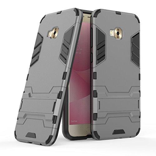 MaiJin Hülle für Asus ZenFone 4 Selfie Pro ZD552KL (5,5 Zoll) 2 in 1 Hybrid Dual Layer Shell Armor Schutzhülle mit Standfunktion Case (Grau)