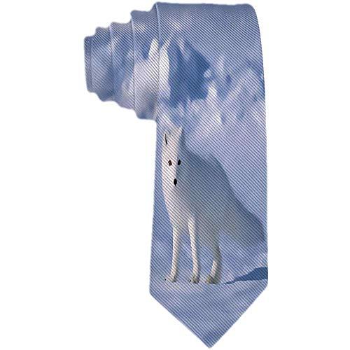 Mens White Arctic Fox im Schnee Krawatte Polyester Seidenkrawatte gewebt Jacquard Krawatten Mens Novetly Geschenk