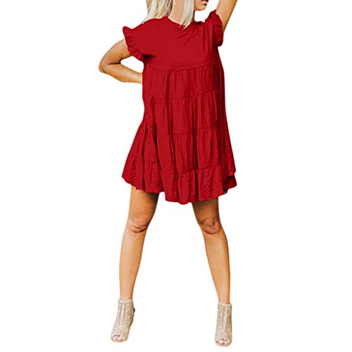 Fantastic Deal! Startview Womens Ruffle Plain Short Sleeve DressCasual Swing Party Dress Loose Comfy...