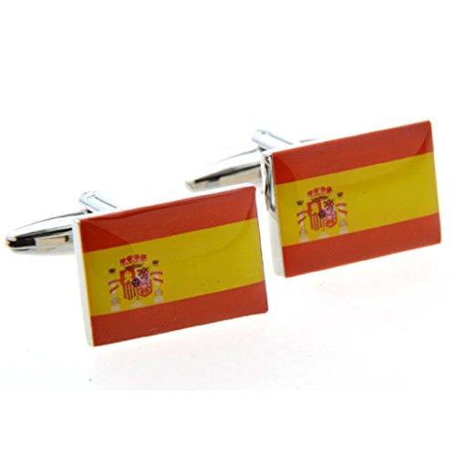 MRCUFF Flag Spain Pair Cufflinks in a Presentation Gift Box & Polishing Cloth