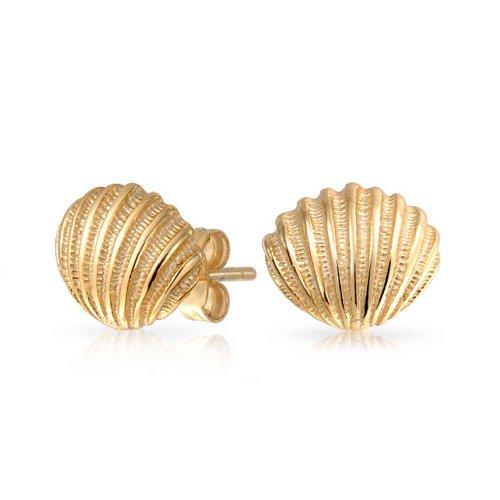 Nautisch Tropischen Strand Muschel Ohrstecker Ohrhänger Für Damen Leben Meer 14K Vergoldet Sterling Silber 925
