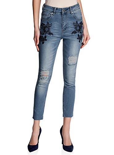 oodji Ultra Donna Jeans Slim Fit con Ricami sulle Tasche, Blu, 26W / 32L (IT 40 / EU 36 / XS)