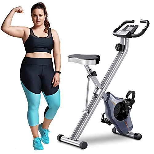 BCAN Folding Exercise Bike-Stationary Folding Bike with Magnetic Resistance,Pulse Monitor and Comfortable Seat