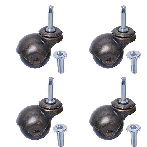 Drehbare Rollen für Möbel, Bürostuhl und Sofas, 2 Zoll Räder, 360 Grad drehbar, Länge 30 kg, Tragkraft für Möbel (4 Sets)