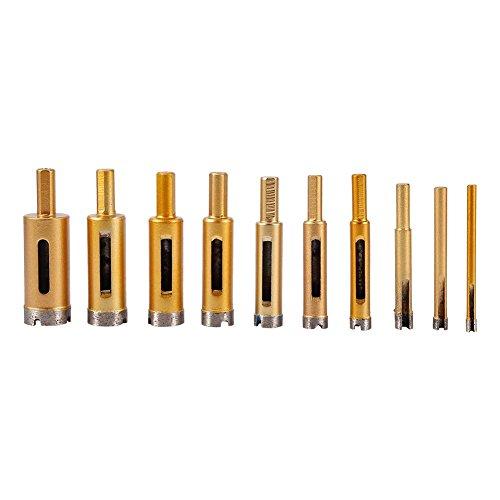 Wandisy Diamantbohrer, 10-TLG. 6mm-25mm-Lochsägen-Werkzeugsatz für Keramik-Marmor-Glasstein