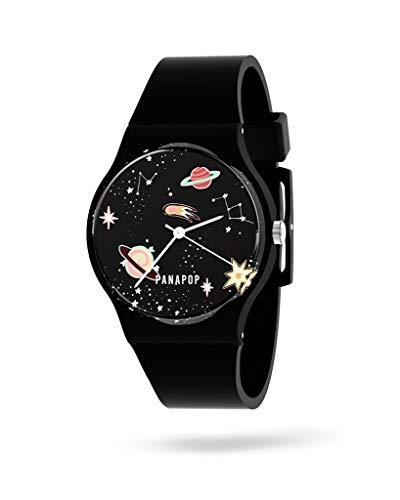 PANAPOP   Stardust   Reloj Original de Pulsera para Mujer con Correa Negra de Silicona y Cierre de Hebilla HQ Premium, Estampado Planetas