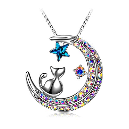 Cat on Moon Pendant Necklace