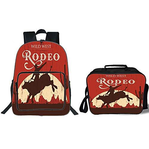 "iPrint 19"" School Backpack & Lunch Bag Bundle,Vintage,Rodeo Cowboy Riding Bull Wooden Old Sign Western Wilderness at Sunset Image,Redwood Orange,for Boys Girls"