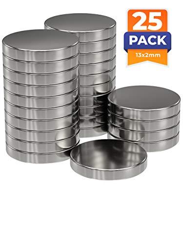 25x Neodym Power Magnet silber | Scheibenmagnet extra stark rund | Scheibe Durchmesser 13 mm x 2 mm hoch | 25 Neodymium Magnets Strong Round Magnetic Disc | starke Magneten Supermagnet
