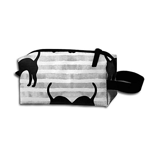 Travel Makeup Black Cats On Grey Stripes Beautiful Waterproof Cosmetic Bag Quick Makeup Bag Pencil Case