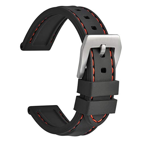WOCCI Silikon Gummi Uhrenarmband 22mm, Wählen Sie Farbe & Breite Ersatz Armband (Schwarz)
