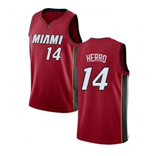 Camiseta De Baloncesto para Hombres, Camiseta De Miami Heat 14# Tyler Herro Bordado Y Transpirable Swingman Jersey, Camiseta De Hip Hop para Adolescentes Top para Fiesta(S-3XL)-Red-L