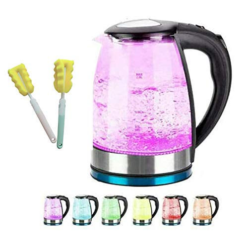 Glass Electric Kettle, 2L 2000W with 7 Color LED Lights,Fast Boil Water Kettle, Auto Shut-Off & Boil-Dry Protection, Removable Washable Filter Electric Tea Glass Kettle