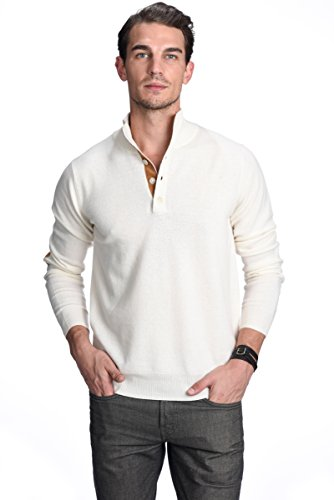 Price comparison product image State Cashmere Quarter-Button Mock Neck Sweater 100% Pure Cashmere Long Sleeve Polo Collar Pullover (Medium,  Ivory)