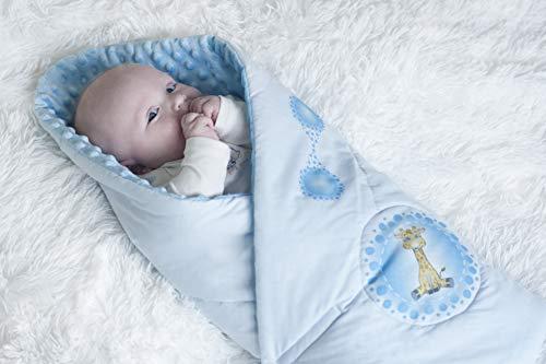 BlueberryShop - Manta de algodón para bebé (74 x 72 cm), diseño de Minky azul azul, jirafa Talla:74 x 72 cm