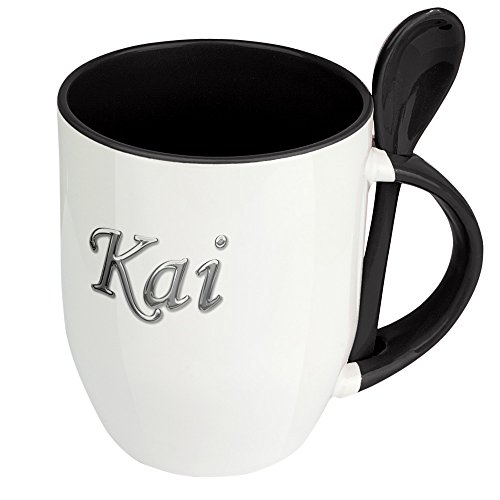 Namenstasse Kai - Löffel-Tasse mit Namens-Motiv Chrom-Schriftzug - Becher, Kaffeetasse, Kaffeebecher, Mug - Schwarz