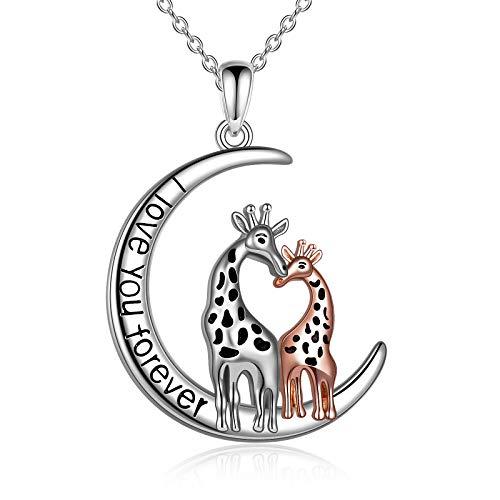 WINNICACA Collar de plata S925 con diseño de jirafa y colgante de bonito animal, ideal como regalo para mamá, hija, mamá