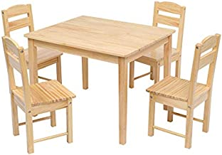 JOYMOR Solid Wood Kids Table and 4 Chairs, Child Table and Chairs Set for Toddlers, Girls and Boys, Kids Furniture Activity Table Set