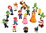 Super Mario Bros Luigi, Mario, Yoshi Action Figures Toy.18PC Movable Action Figures Toy PVC Material. for Encouragement Gifts. Home Decoration and Room Decoration, Table Decoration and Birthday Gifts.