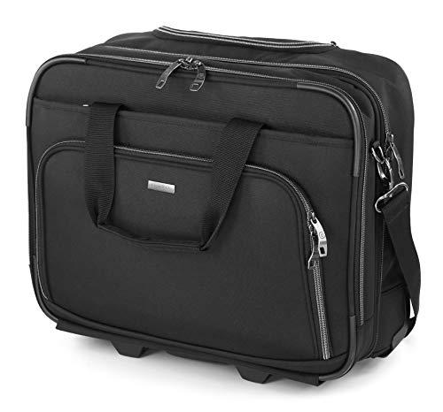 """Bugatti Business Basic Laptop Koffer 15"""", Handgepäck Trolley mit Rollen, Mobiles Büro 21L aus Nylon, Kleiner Business Rollkoffer mit Gepäckfach und Organisationsfach, Schwarz"""