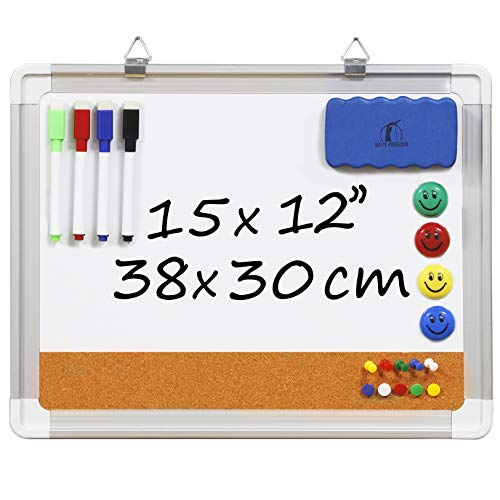 Whiteboard Bulletin Board Set - Dry Erase/Cork Board 15 x 12 in with 1 Magnetic Eraser, 4 Dry Wipe Markers, 4 Magnets and 10 Pins - Small Wall Hanging Notice White Tack Board for Home and Office