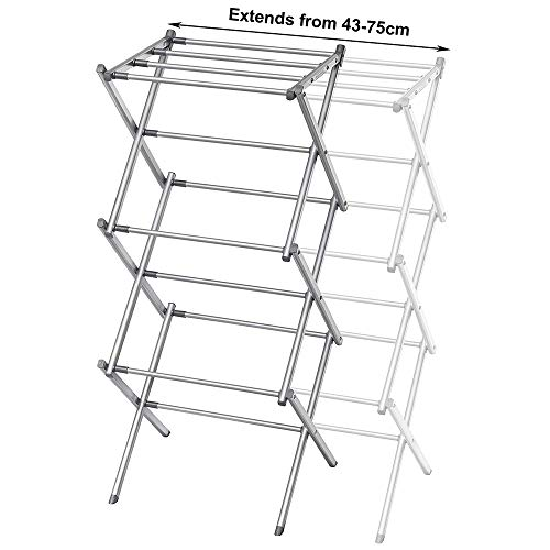 3 Tier extendable Clothes Airer Dryer Indoor Outdoor Metal Laundry Drying...