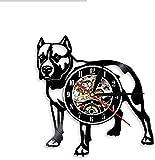 hhhjjj Pitbull mère Mur Chien rétro américain Bully mère Horloge Pitbull Maison décoration Murale décorative Horloge Murale Chien élevage Cadeau Vinyle Disque