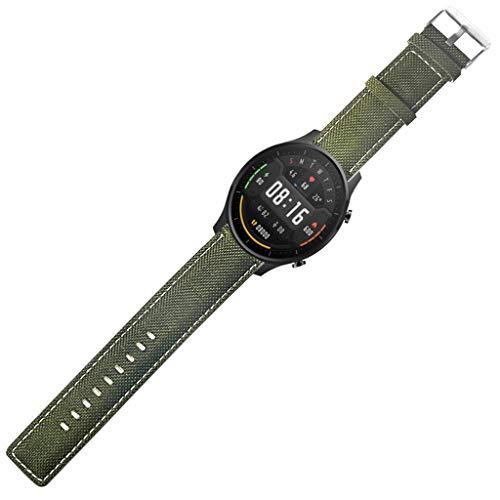 YOKING - Reloj Xia0mi color tela + correa de piel, pulsera para hombre, pulsera para mujer, accesorios de reloj
