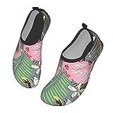 Nicokee Zapatos de agua de flamenco, hojas de palma, flores,...