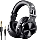 Casque Bluetooth 50 Heures d'Autonomie OneOdio A70 Casque Audio Sans Fil avec Microphone Antibruit CVC 8.0, Casque Studio, Casque Monitoring, Compatible Smartphone Tablette PC Piano Guitare AMP (Noir)