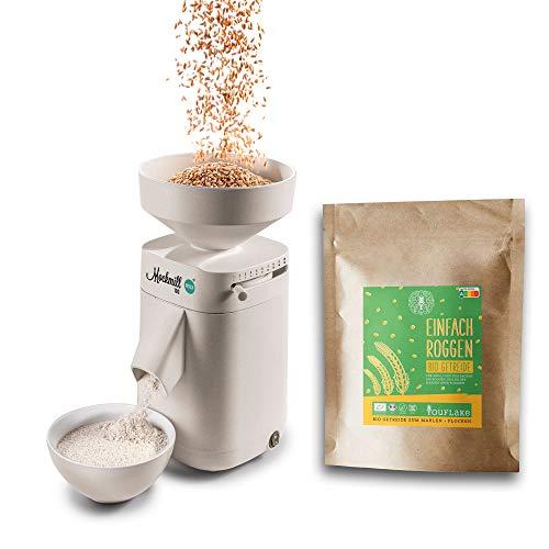 Getreidemühle Mockmill 100 | Made in Germany | Edelkorund und Keramik Mahlstein (Mockmill 100 + Bio Dinkel)…