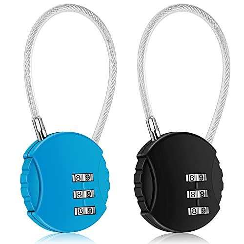 CROMLL 2 Pack Combination Lock 3 Digit Outdoor Waterproof Padlock for School Gym Locker, Sports Locker, Fence, Toolbox, Gate, Case, Hasp Storage (Black&Blue)