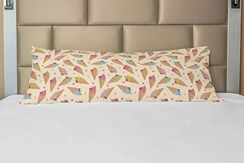 ABAKUHAUS Dessert Taie de Traversin avec Fermeture à Glissière, Cornet Gaufre Ice Creams, Taie d'oreiller Longue Décorative, 53 x 137 cm, Multicolore