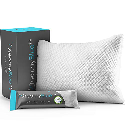 DreamyBlue Premium Pillow for Sleeping - Shredded Memory Foam Fill [Adjustable Loft] Washable Cover from Bamboo Derived Rayon - for Side, Back, Stomach Sleepers - CertiPUR-US Certified (Queen)