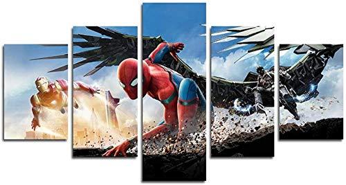 Quadro Multipannello 5 Pezzi Spider Superhero Movie Muralestampa Artistica Moderni Murale Fotografia Grafica Decorazione Parete XXL Immagini Poster HD (Incorniciato)