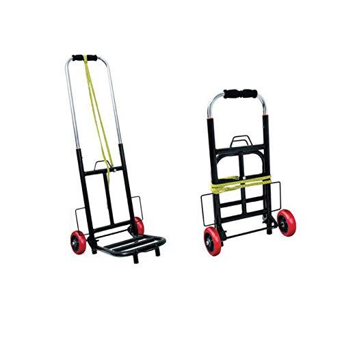 Carrito de Aluminio Plegable Resistente - Carretilla de Transporte con Ruedas de PU Capacidad de Carga Hasta 50 KG (MODELO D, 47 x 35 83 cm)